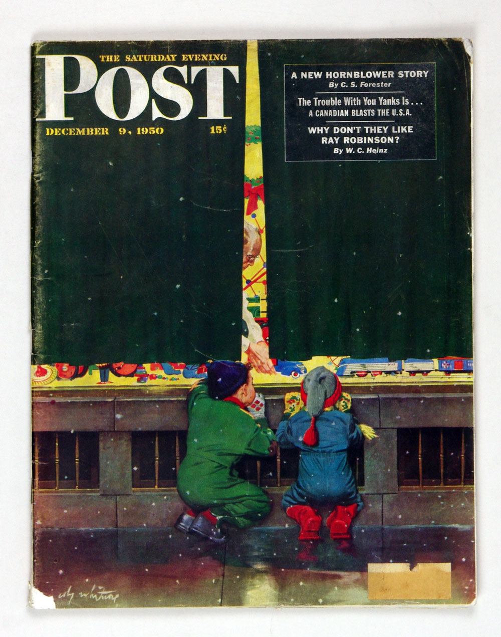 The Saturday Evening Post 1950 Dec 9 Toy Store Window by Whitmore