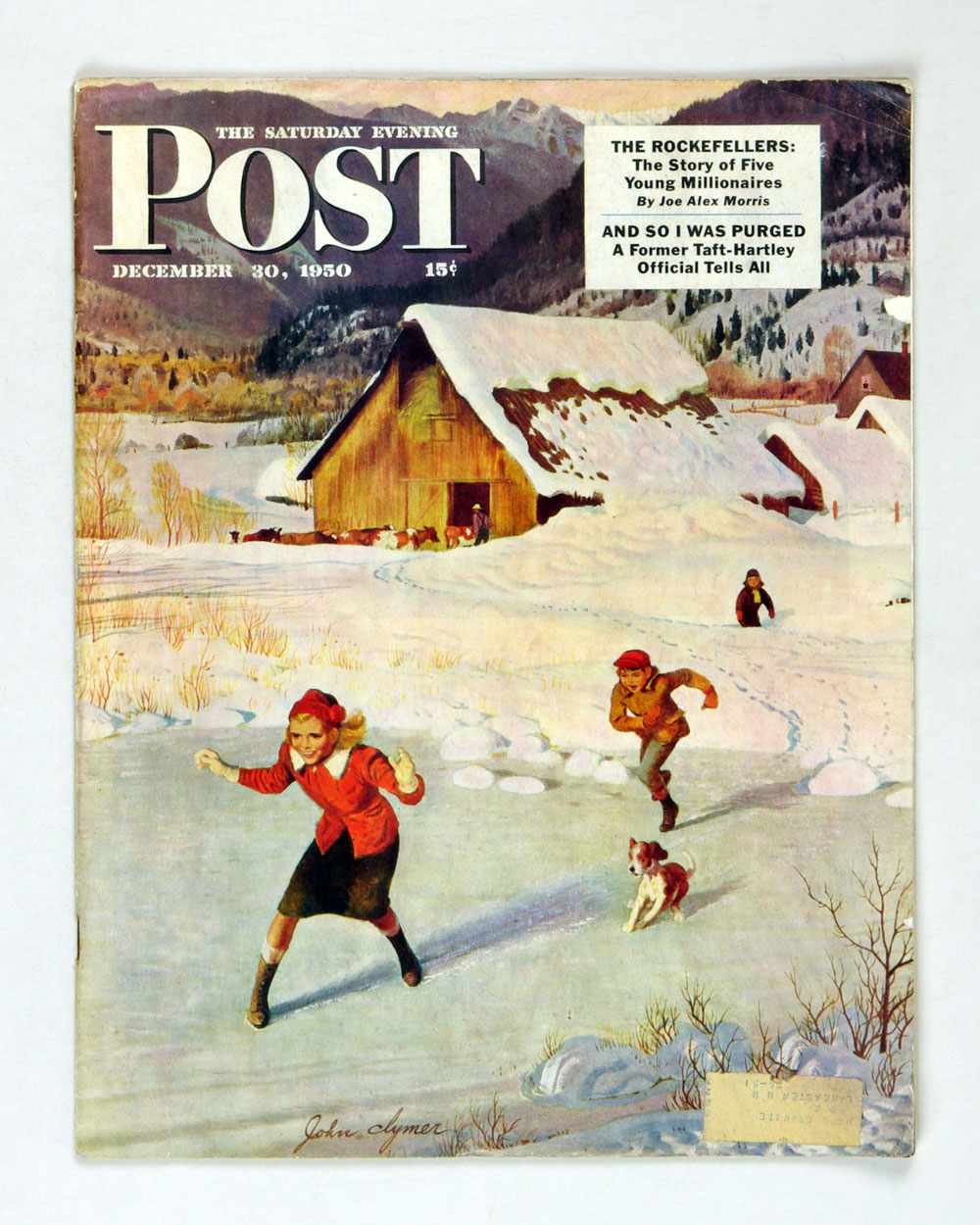 The Saturday Evening Post 1950 Dec 30 Playing on Ice by Clymer