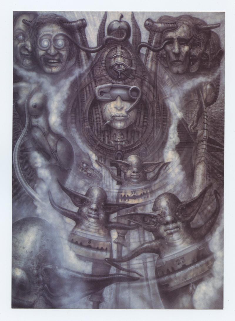 H.R. Giger Postcard ILLUMIATUS I Exhibition 1988 Psychedelic Gallery