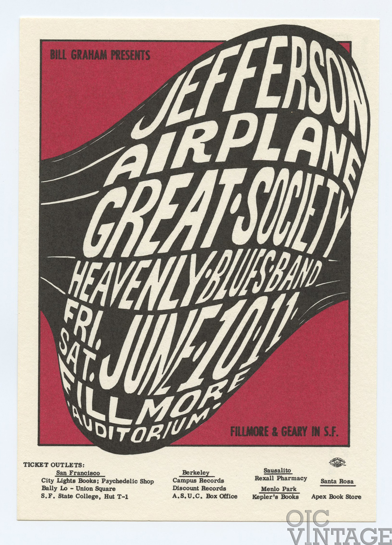 Bill Graham 010 Postcard Jefferson Airplane Great Society 1966 Jun 10