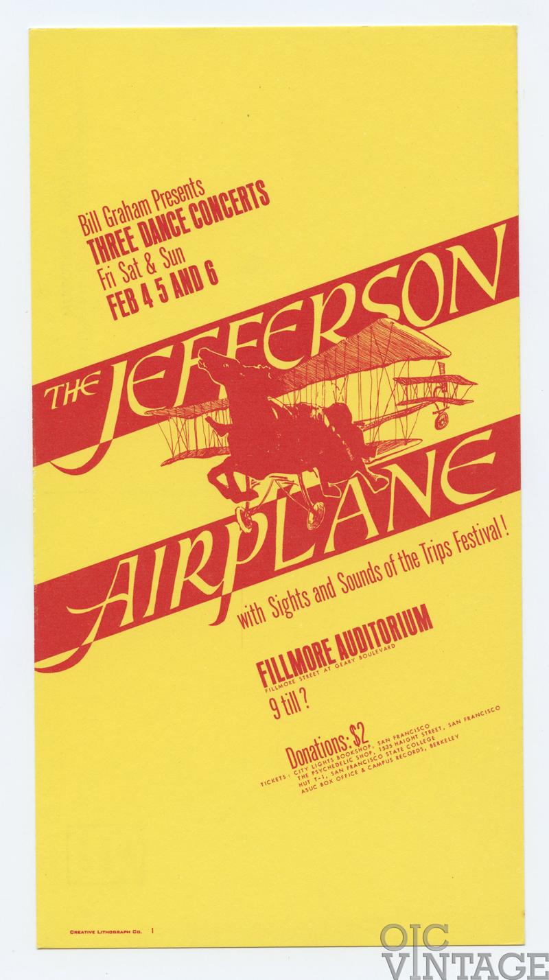 Bill Graham 1 Postcard Jefferson Airplane 1966 Feb 4