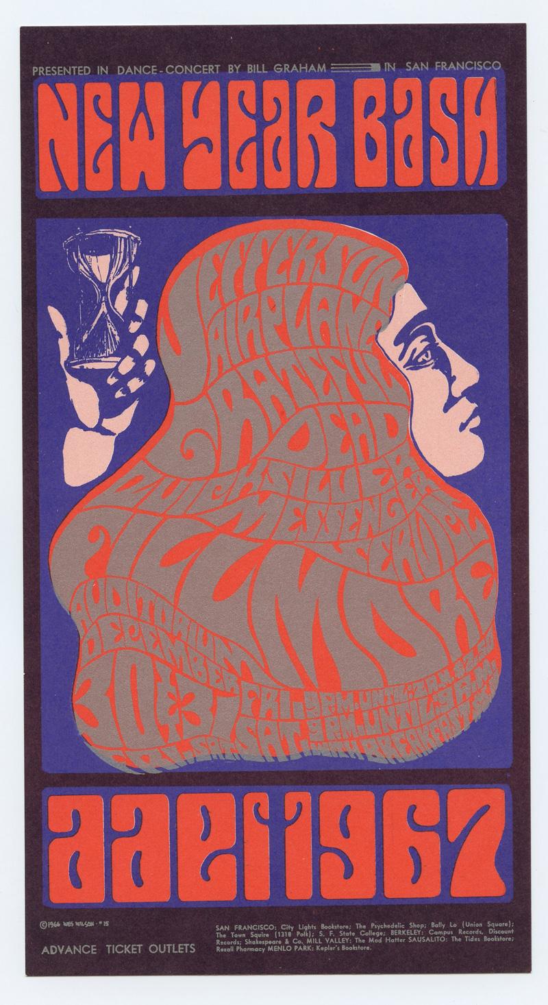 Bill Graham 037 Postcard Grateful Dead Jefferson Airplane 1966 Dec 30