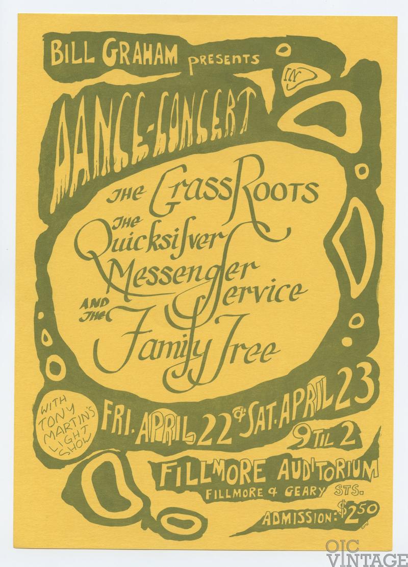 Bill Graham 0 Handbill Grass Roots 1966 Apr 22