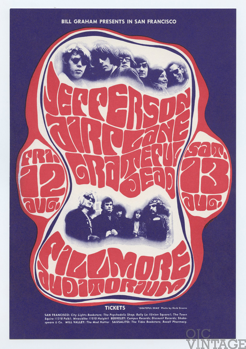 Bill Graham  23 Postcard Grateful Dead Jefferson Airplane 1966 Aug 12