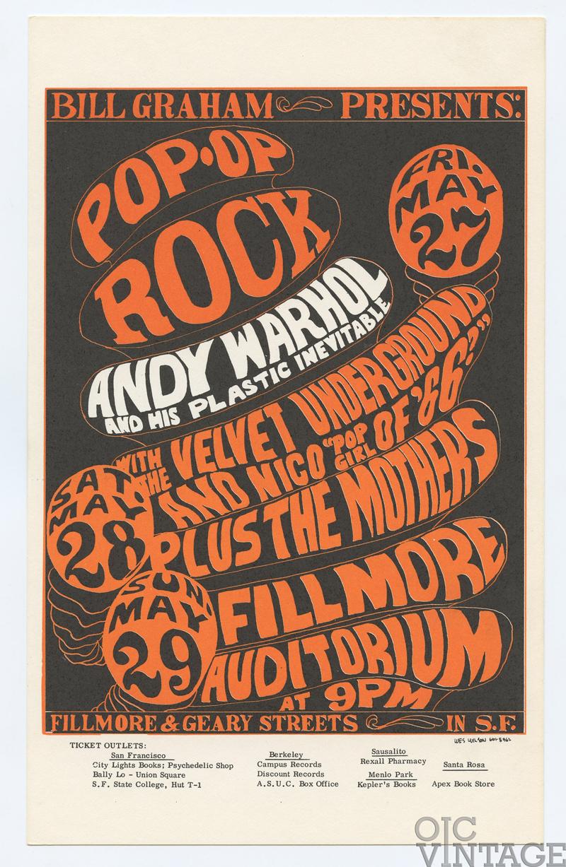 Bill Graham 8 Postcard Andy Warhol Velvet Underground 1966 May 27