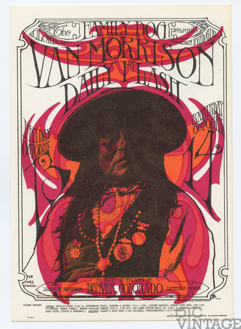Family Dog Denver 06 Postcard Prominent Apache 1967 Oct 13 Van Morrison