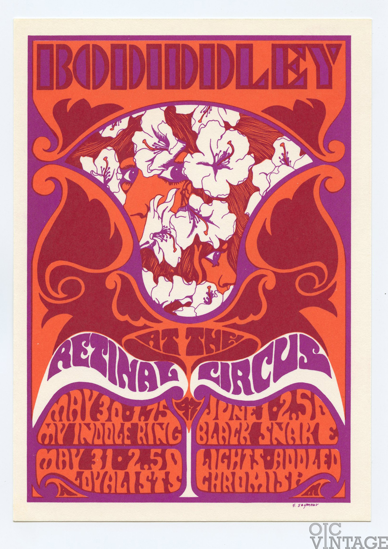 Retinal Circus Postcard 1968 May 30 Bo Diddley My Indole Ring The loyalist Vancouver Canada