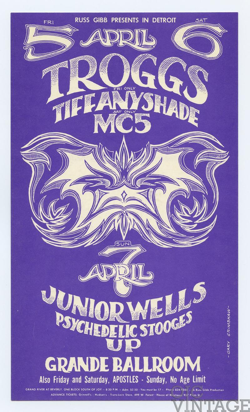 Grande Ballroom Postcard 1968 Apr 5 MC5 Troggs Tiffany Shade
