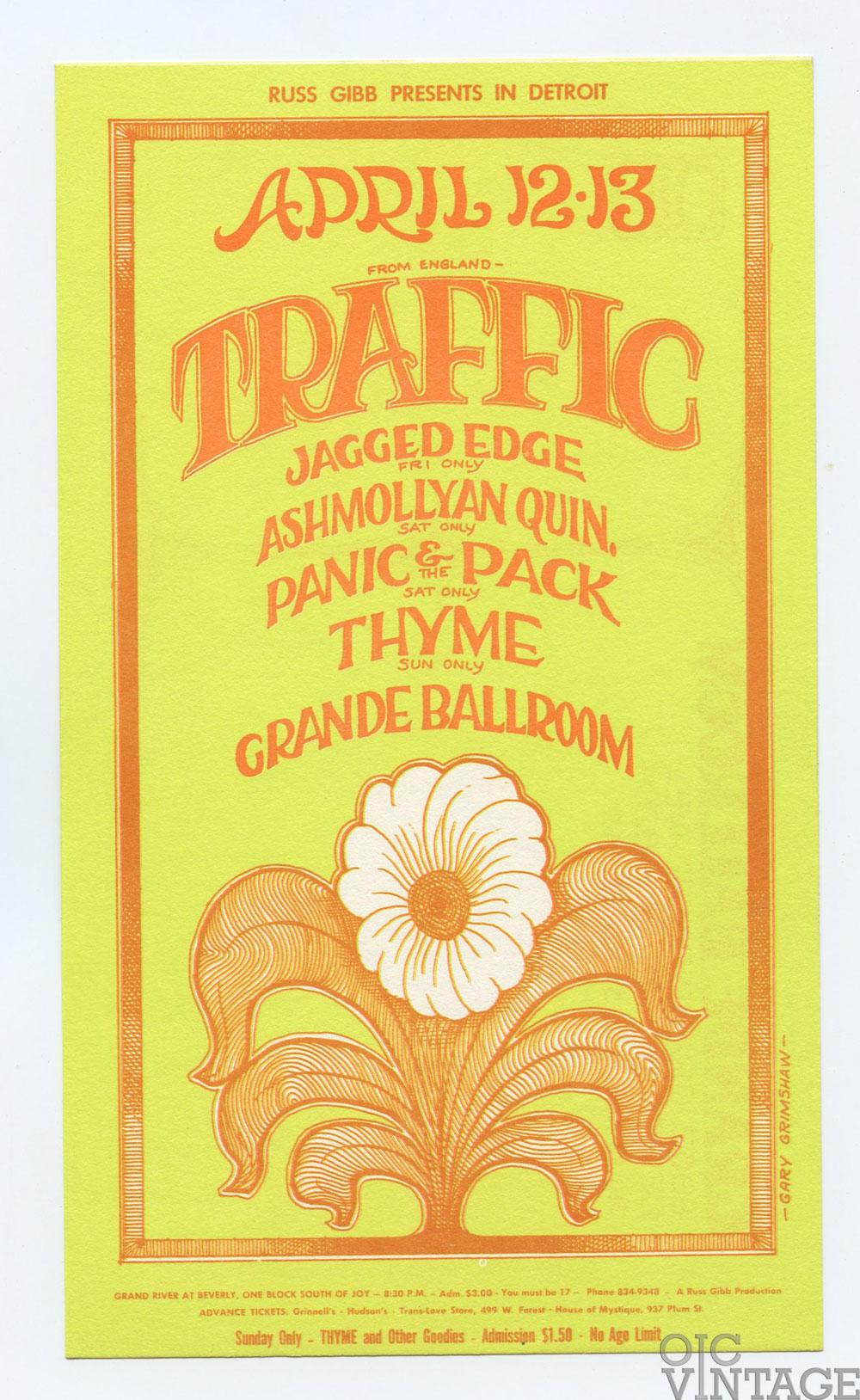 Grande Ballroom Postcard 1968 Apr 12 Traffic Jagged Edge Ashmollyan Quintet