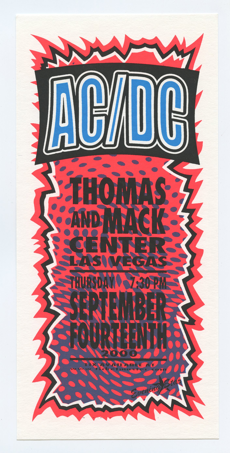 AC/DC Handbill 2000 Sep 4 Thomas and Mac Center Las Vegas Mark Arminski