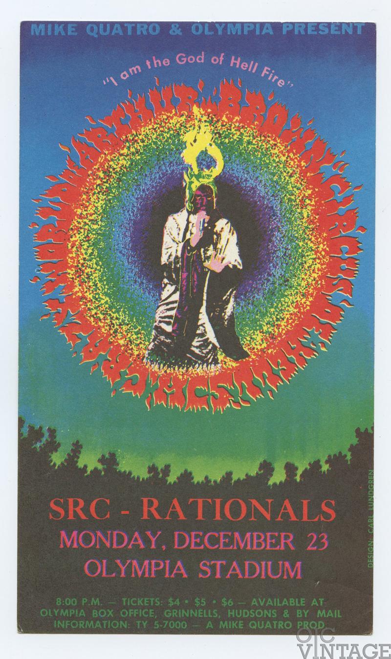 MC5 Handbill 1968 Dec 23 Crazy World of Arthur Brown Olympia Stadium Detroit