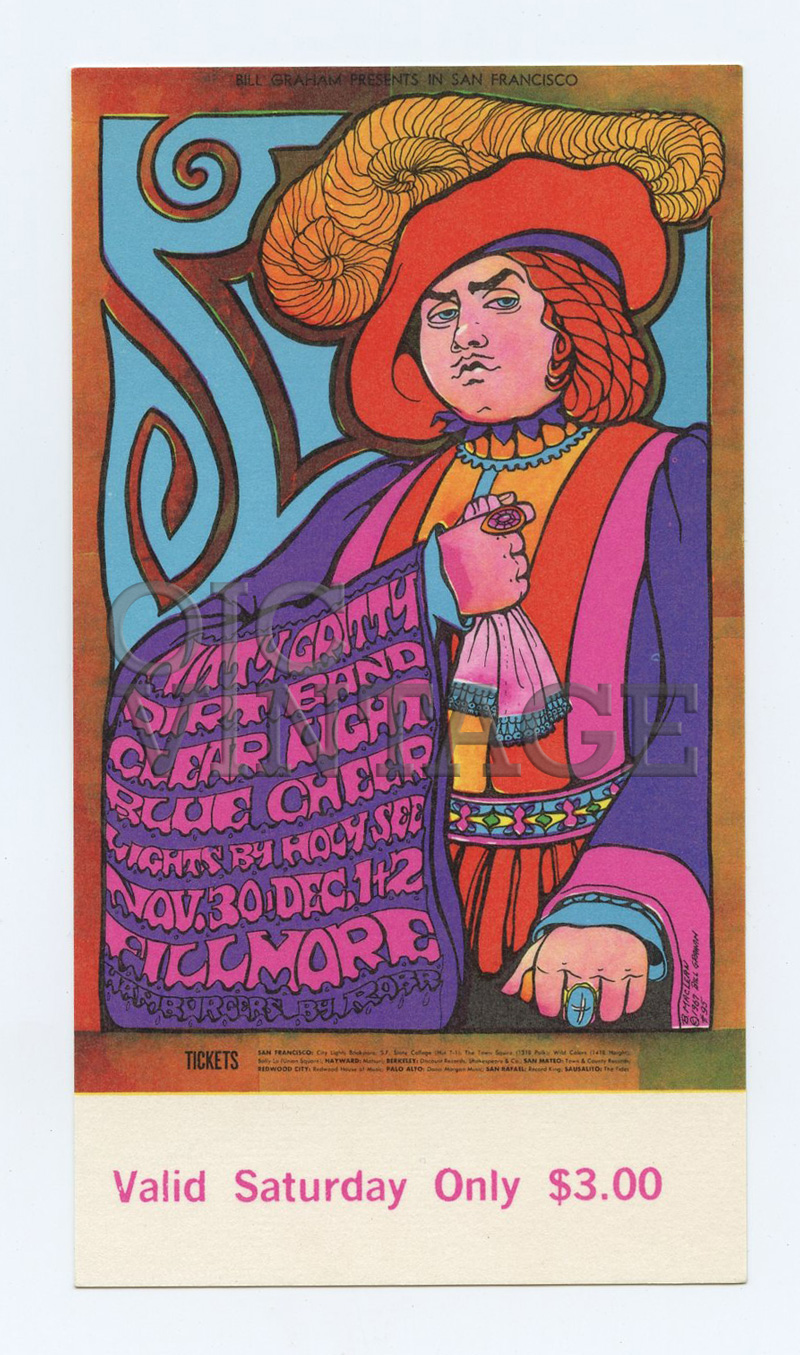 Bill Graham 95 Ticket Nitty Gritty Dirt Band Blue Cheer 1967 Nov 30