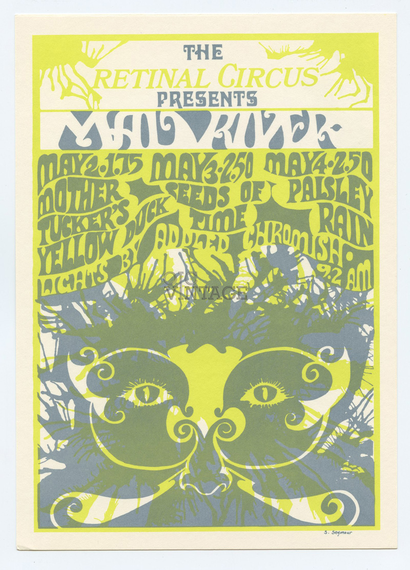Retinal Circus Postcard 1968 May 2 Mad River Mother Tuckers Yellow Duck Vancouver Canada