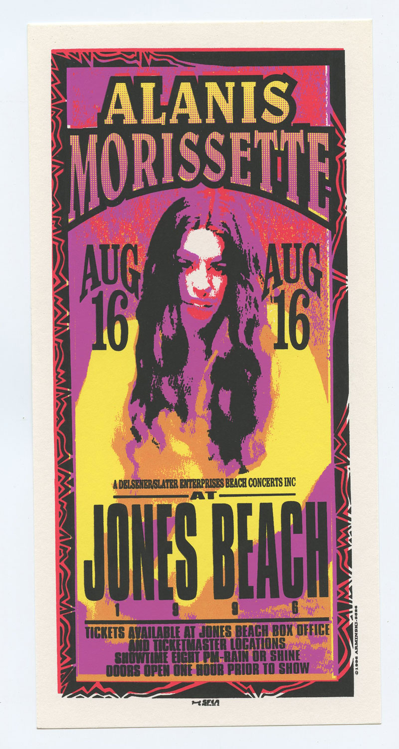 Alanis Morissette Handbill 1996 Aug 6 Jones Beach Mark Arminski