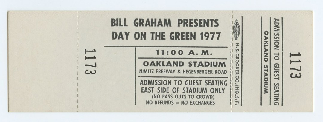Bill Graham Unused Ticket 1977 Jul 2 Day on the Green Oakland Stadium