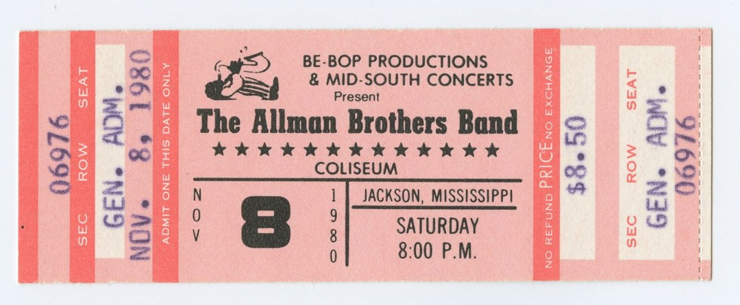 Allman Brothers Band Ticket 1980 Nov 8 Coliseum Jackson Mississippi Unused