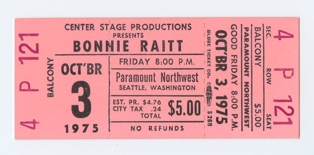 Bonnie Raitt Ticket 1975 Oct 3 Paramount Northwest Seattle Unused