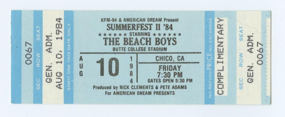 The Beach Boys Ticket 1984 Aug 10 Butte College Stadium  Unused