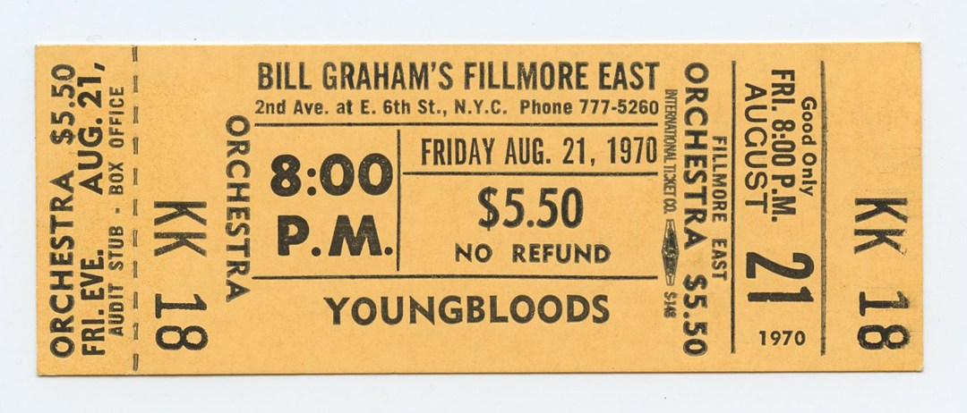 Bill Graham Fillmore East Ticket YOUNGBLOOLDS 1970 Aug 21 8PM Unused