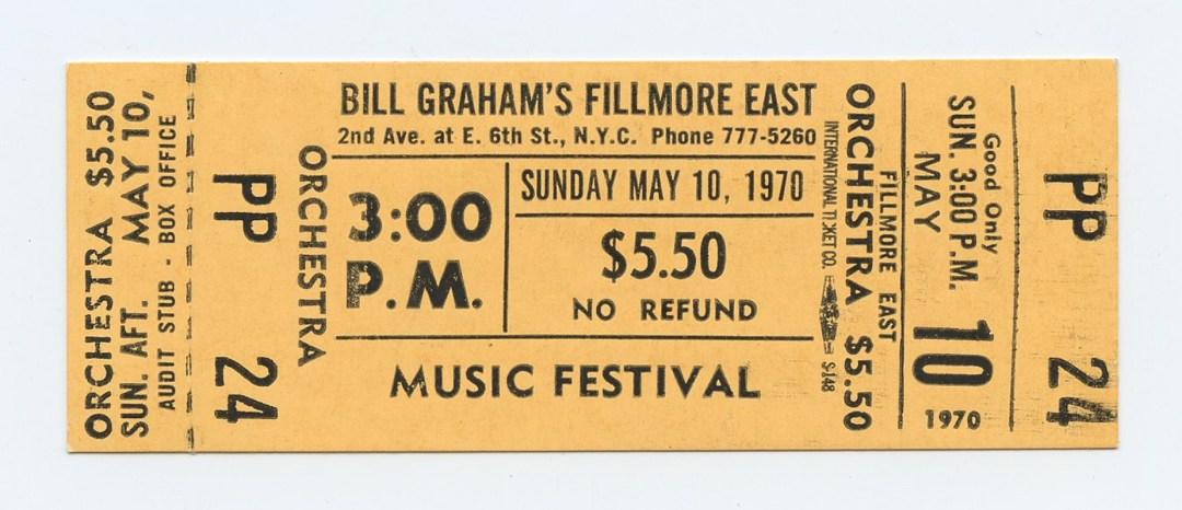 Bill Graham Fillmore East Ticket MUSIC FESTIVAL 1970 May 10 Unused