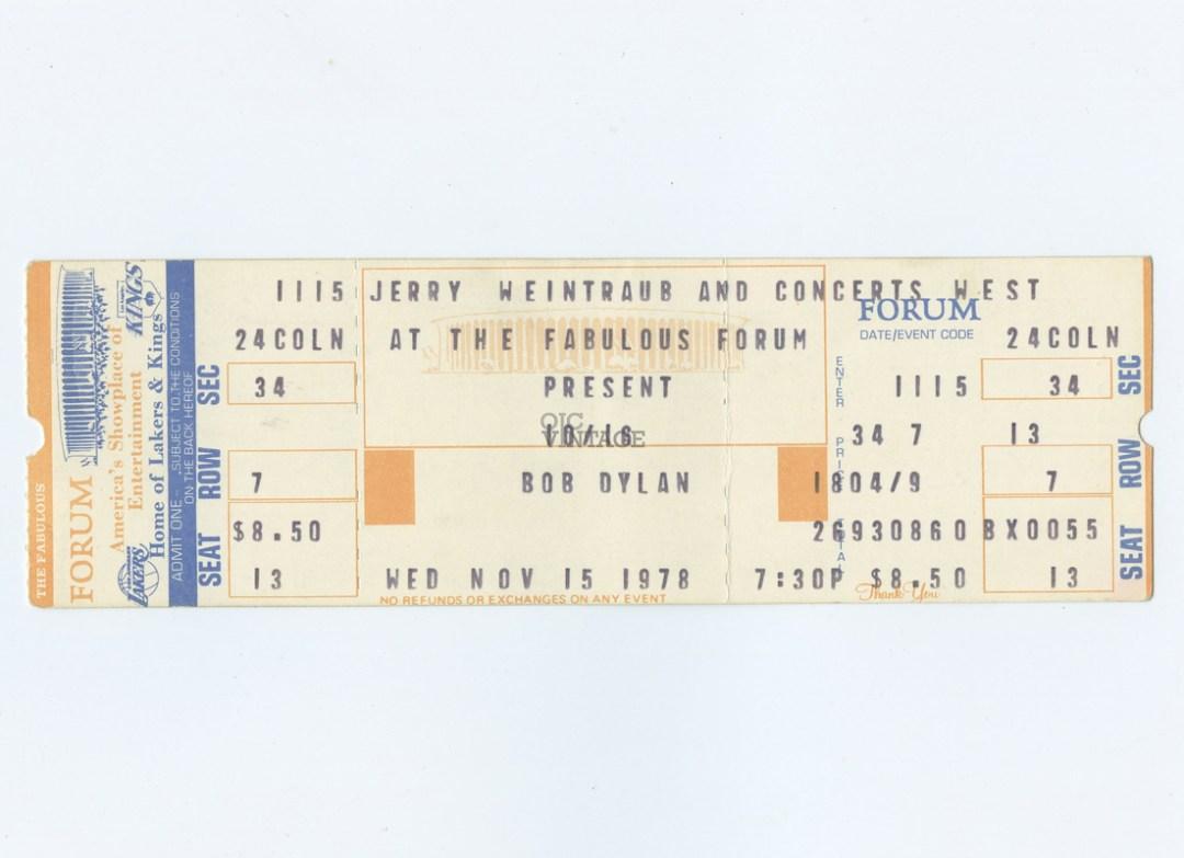 Bob Dylan Ticket  1978 Nov 15 The Fabulous Forum Unused
