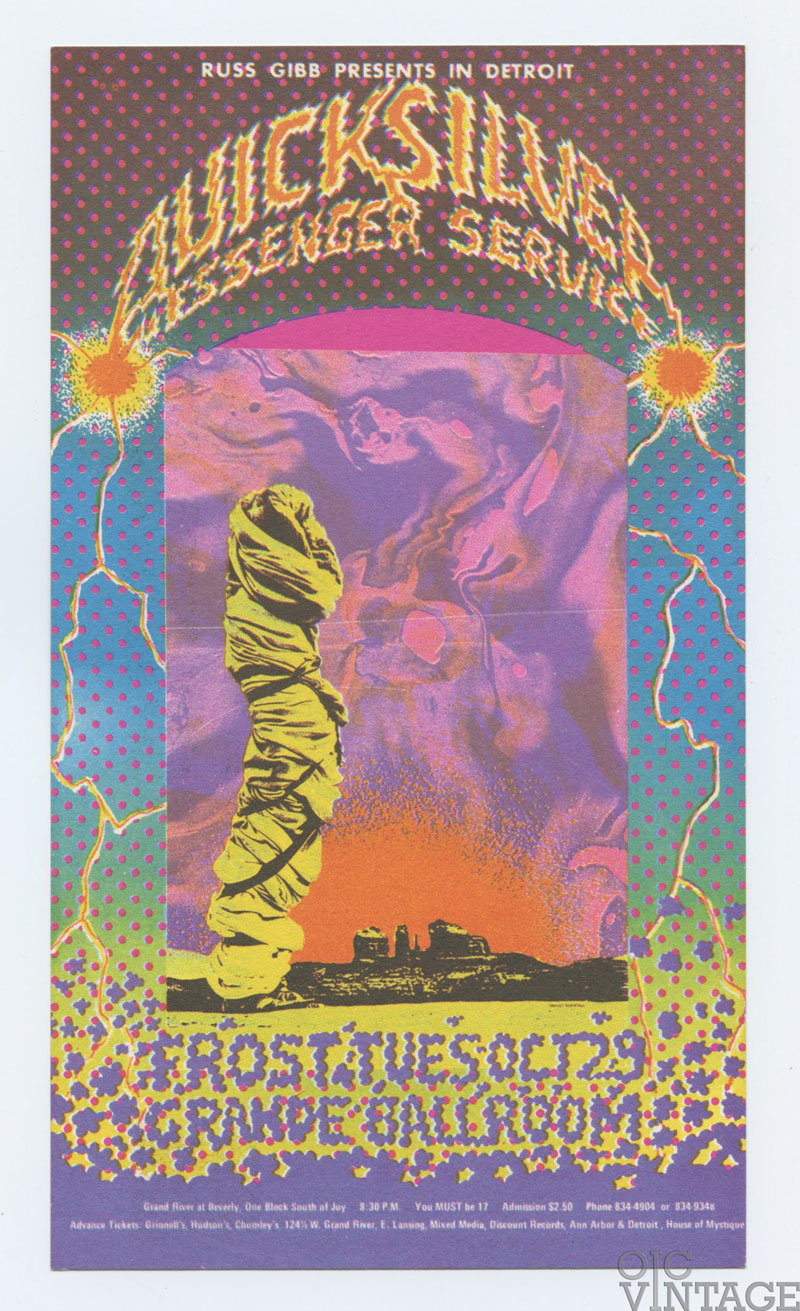 Grande Ballroom Postcard 1968 Oct 29 Quicksilver Messenger Service