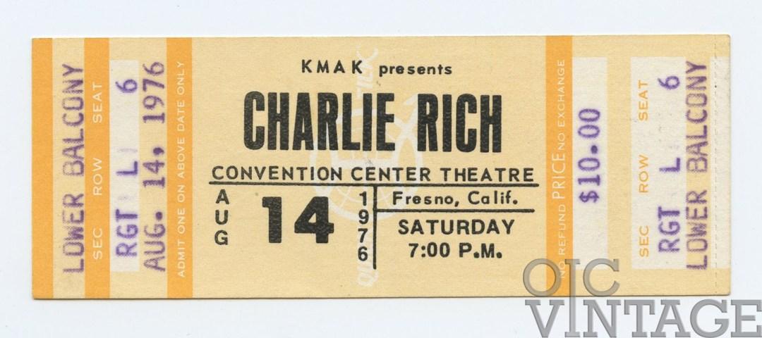 Charlie Rich Ticket 1976 Aug 14 Fresno Unused