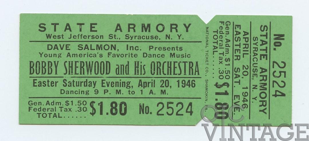 Bobby Sherwood Ticket 1946 Apr 20 New York unused