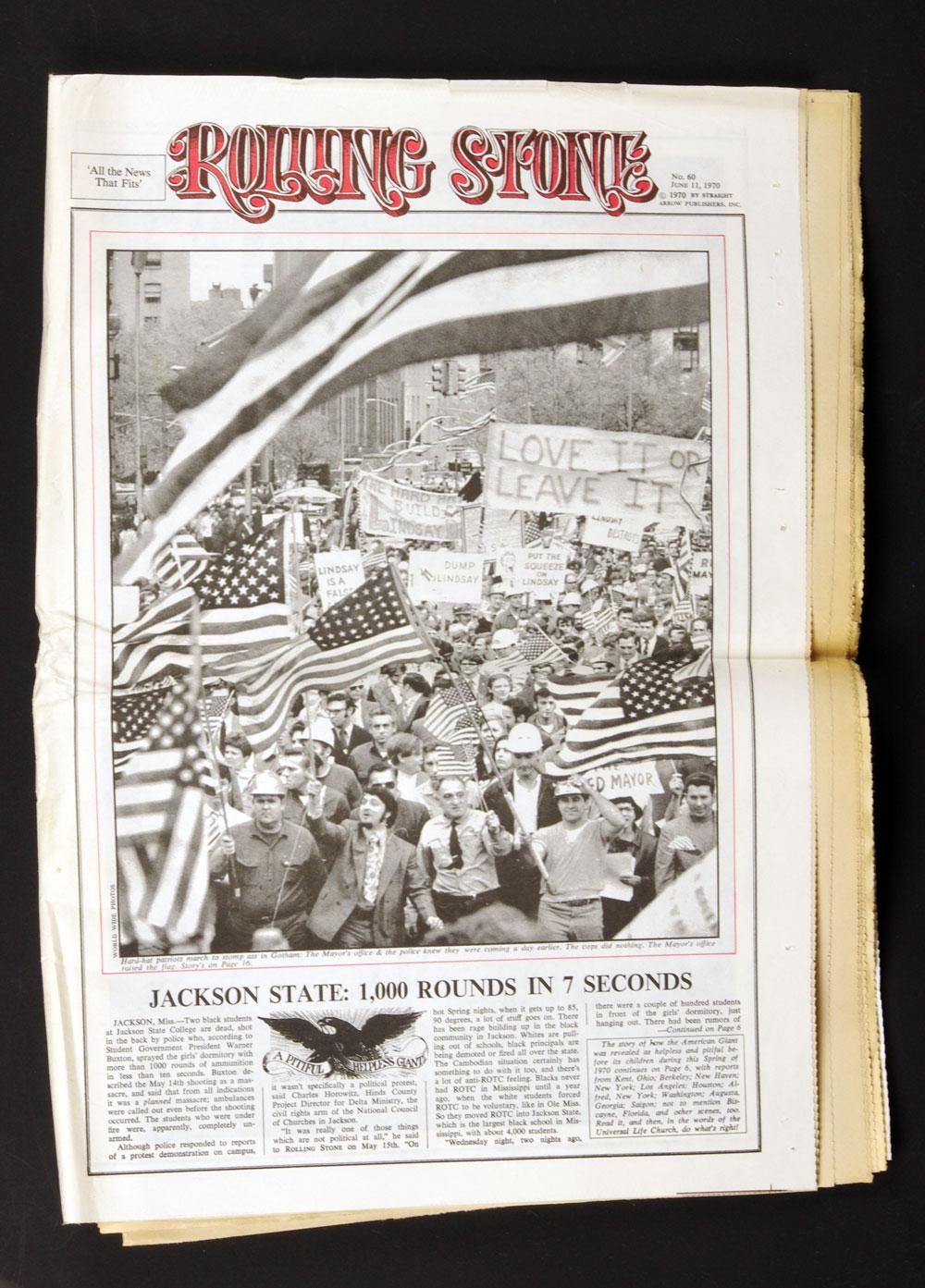 Rolling Stone Magazine 1970 Jun 11 No. 60 A Pitiful Helpless Giant