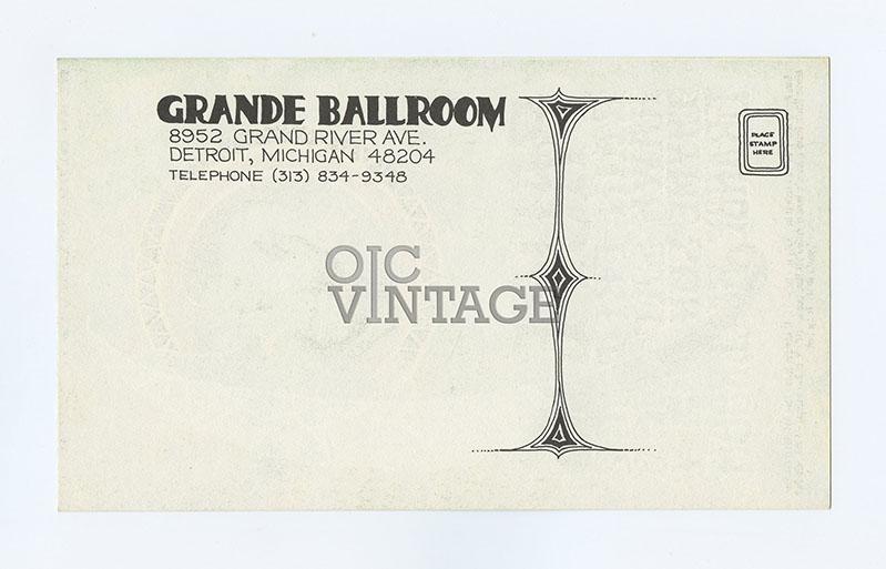Grande Ballroom Postcard 1968 Aug 2 Paupers Rain Hawk Tyme