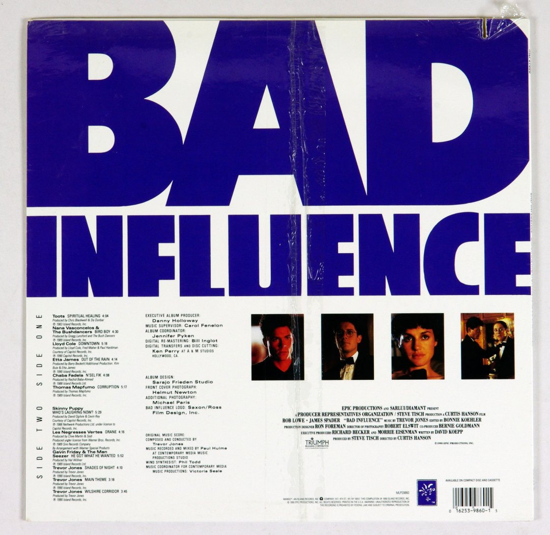 Bad Influence Vinyl LP Sealed NEW 1990 OST