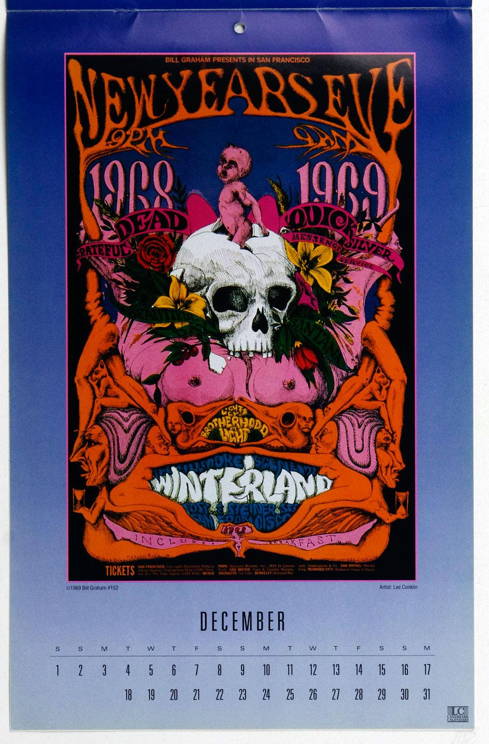 Bill Graham Fillmore Poster Calendar 1990 Vintage