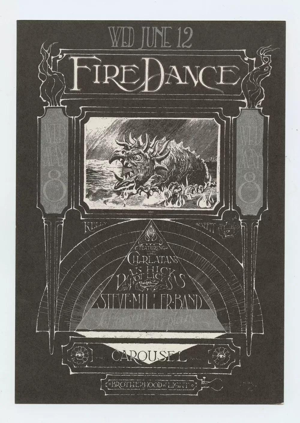 Carousel Ballroom 1968 Handbill Steve miller Band Stanley Mouse Alton Kelley AOR 182