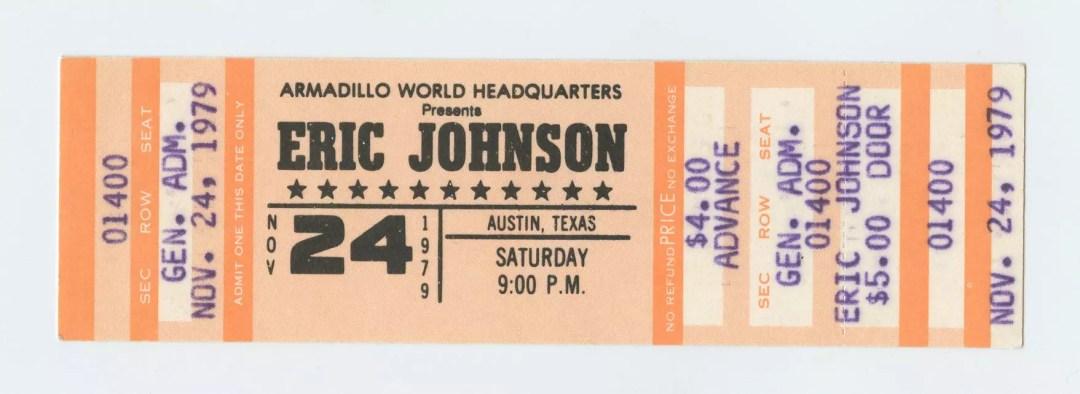 Eric Johnson 1979 March 24 Armadillo World Headquaters Austin TX Unused