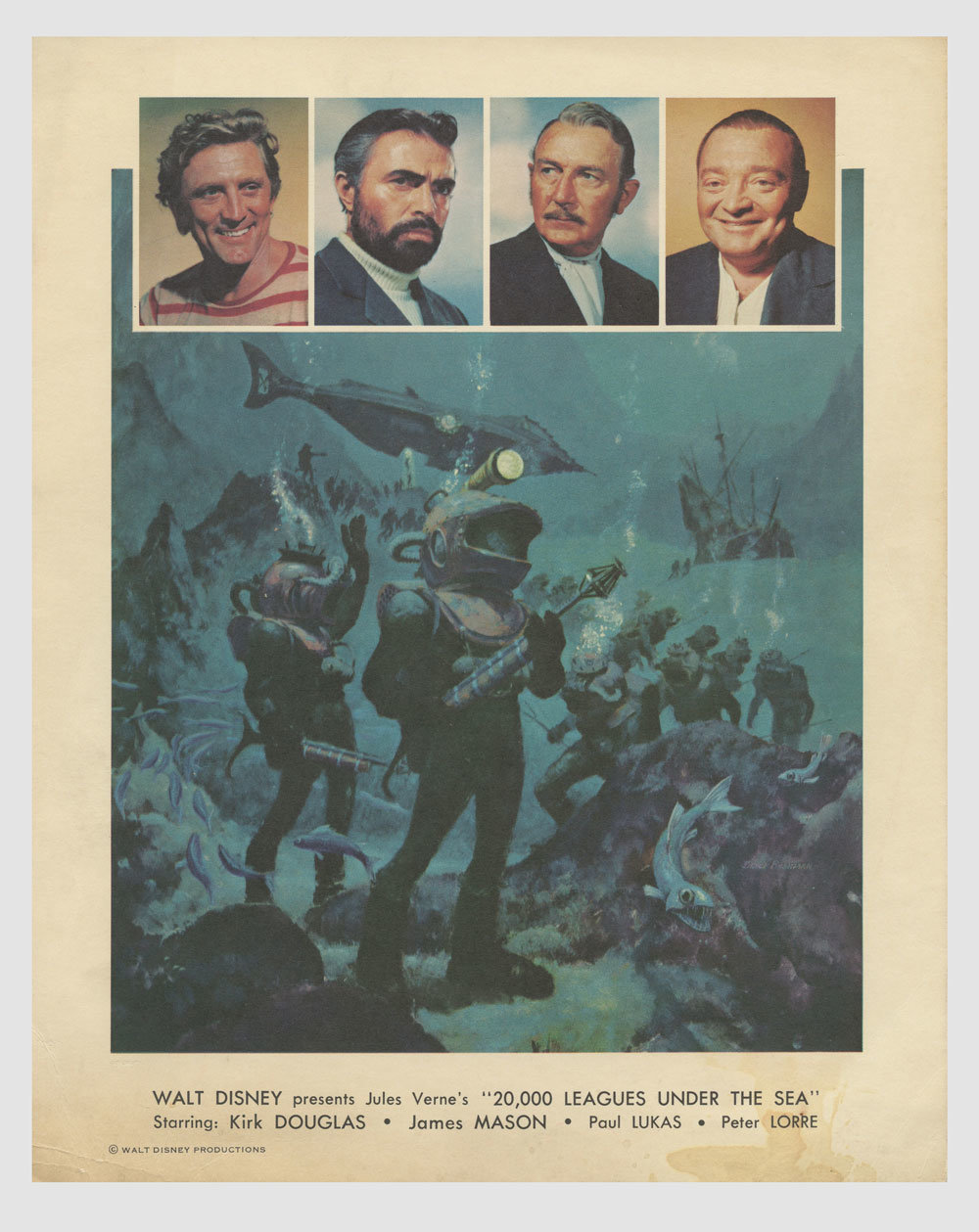 Kirk Douglas James Mason 1954 20,000 Leagues Under the Sea Lobby Card 8x10