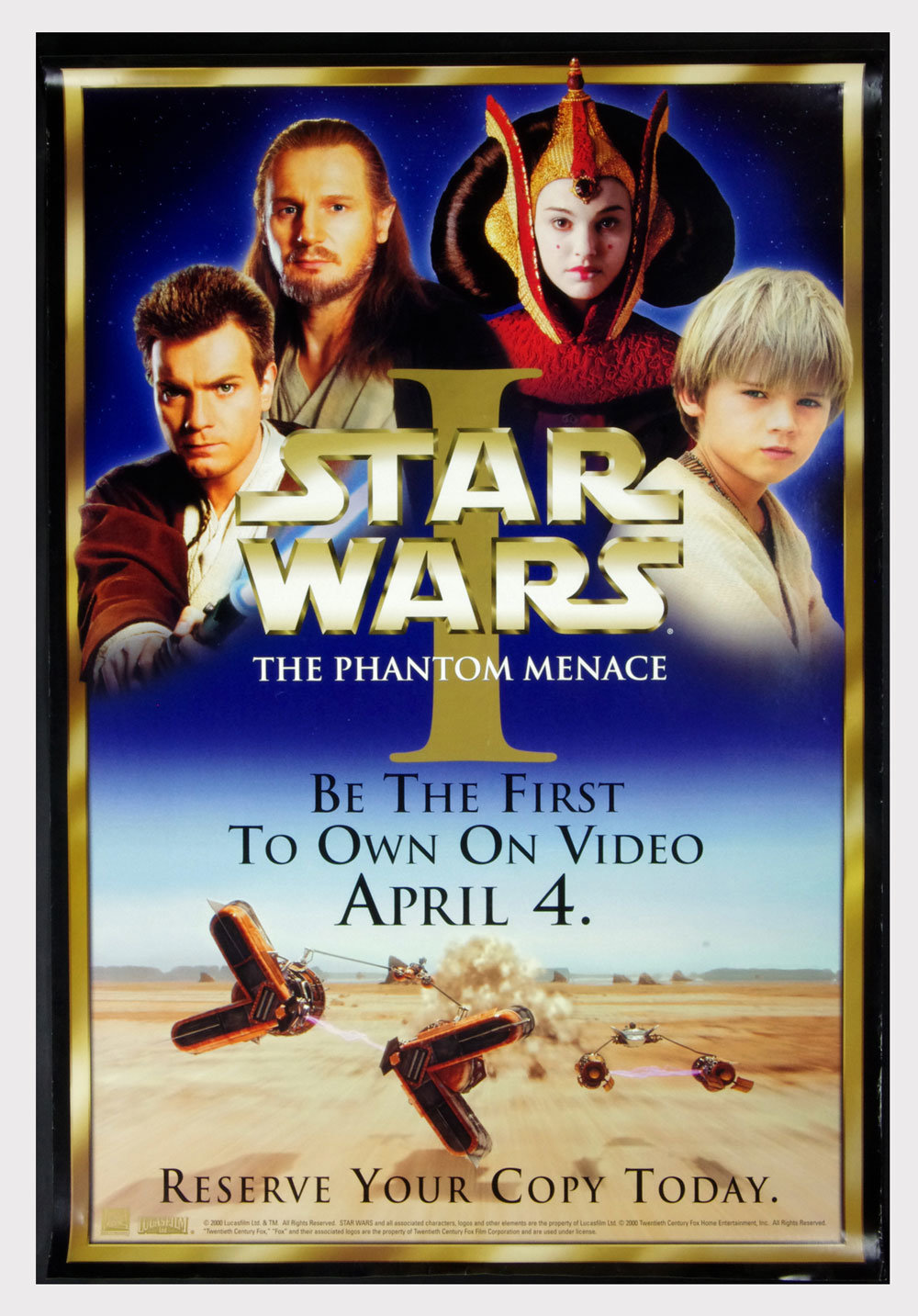 Star Wars Phantom Menace Poster 1999 Home Video 2000 Poster 27 x 40