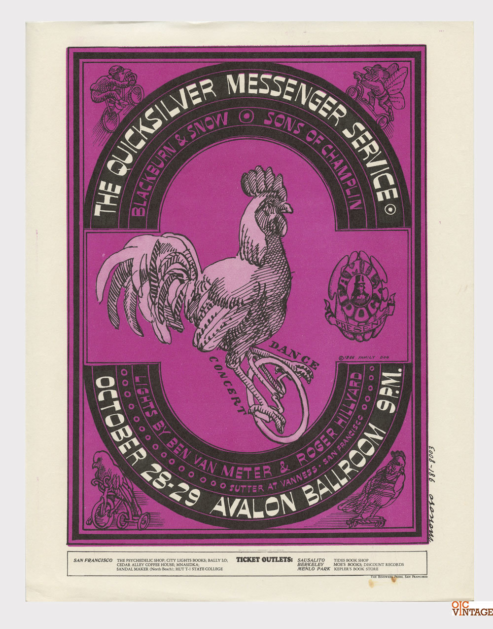 Family Dog 032 Handbill The Chicken on the Unicycle 1966 Oct 28 Quicksilver Messenger Service