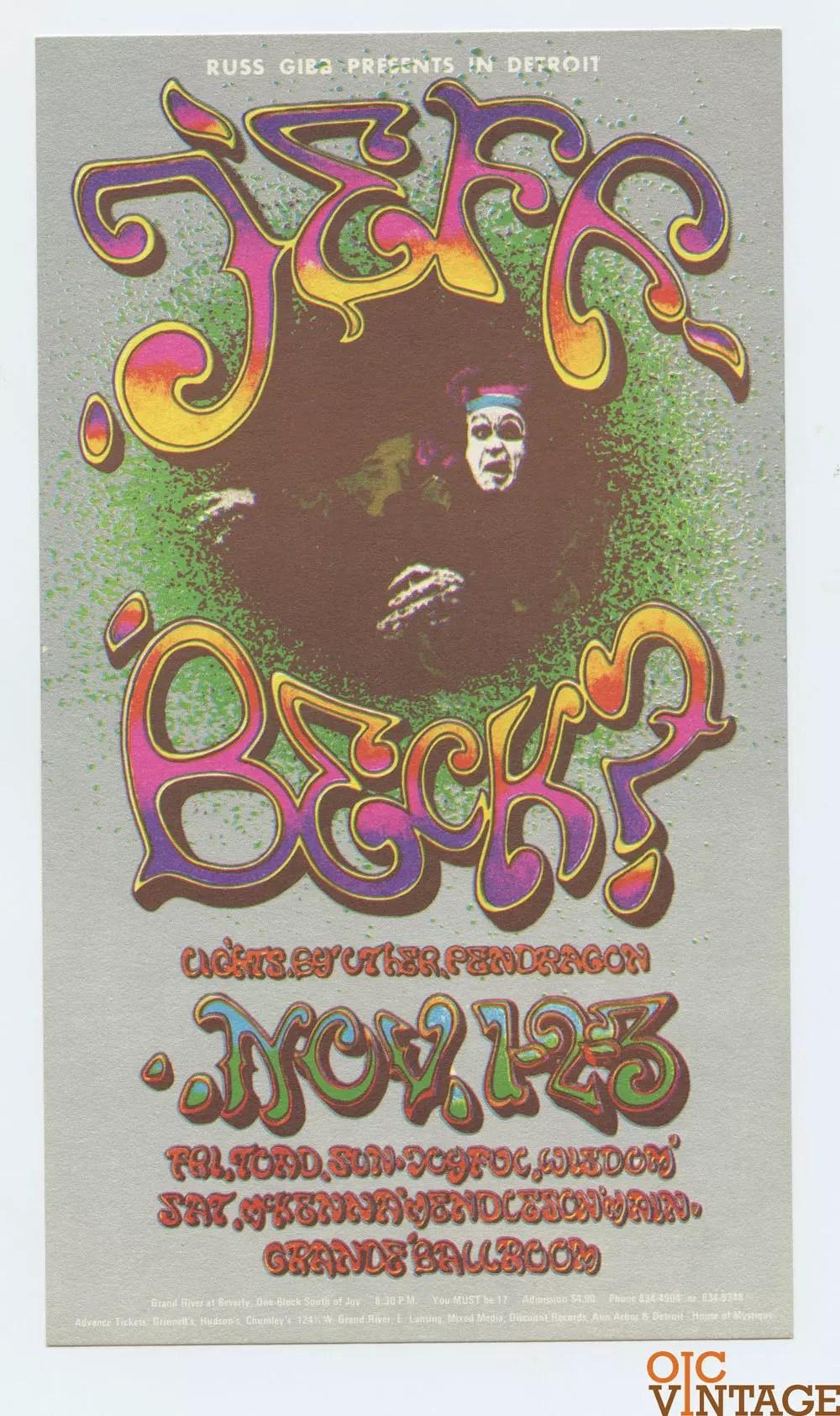 Grande Ballroom Postcard 1968 Nov 1 Jeff Beck McKenna Medenson AOR 3.155