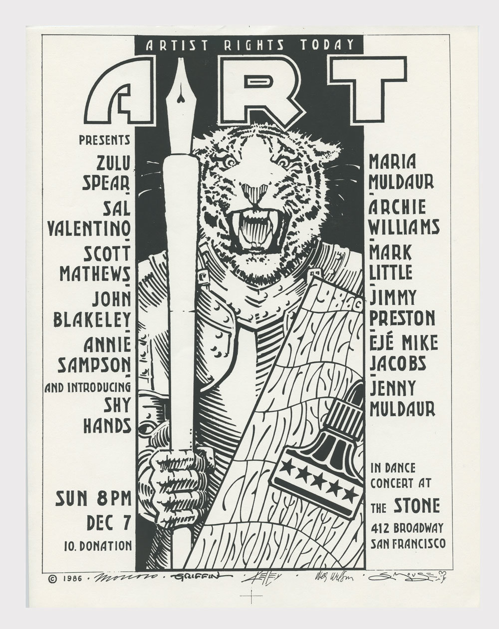 Artist Rights Today Benefit Handbill 1986 Dec 7 The Stone Victor Moscoso Rick Griffin & more