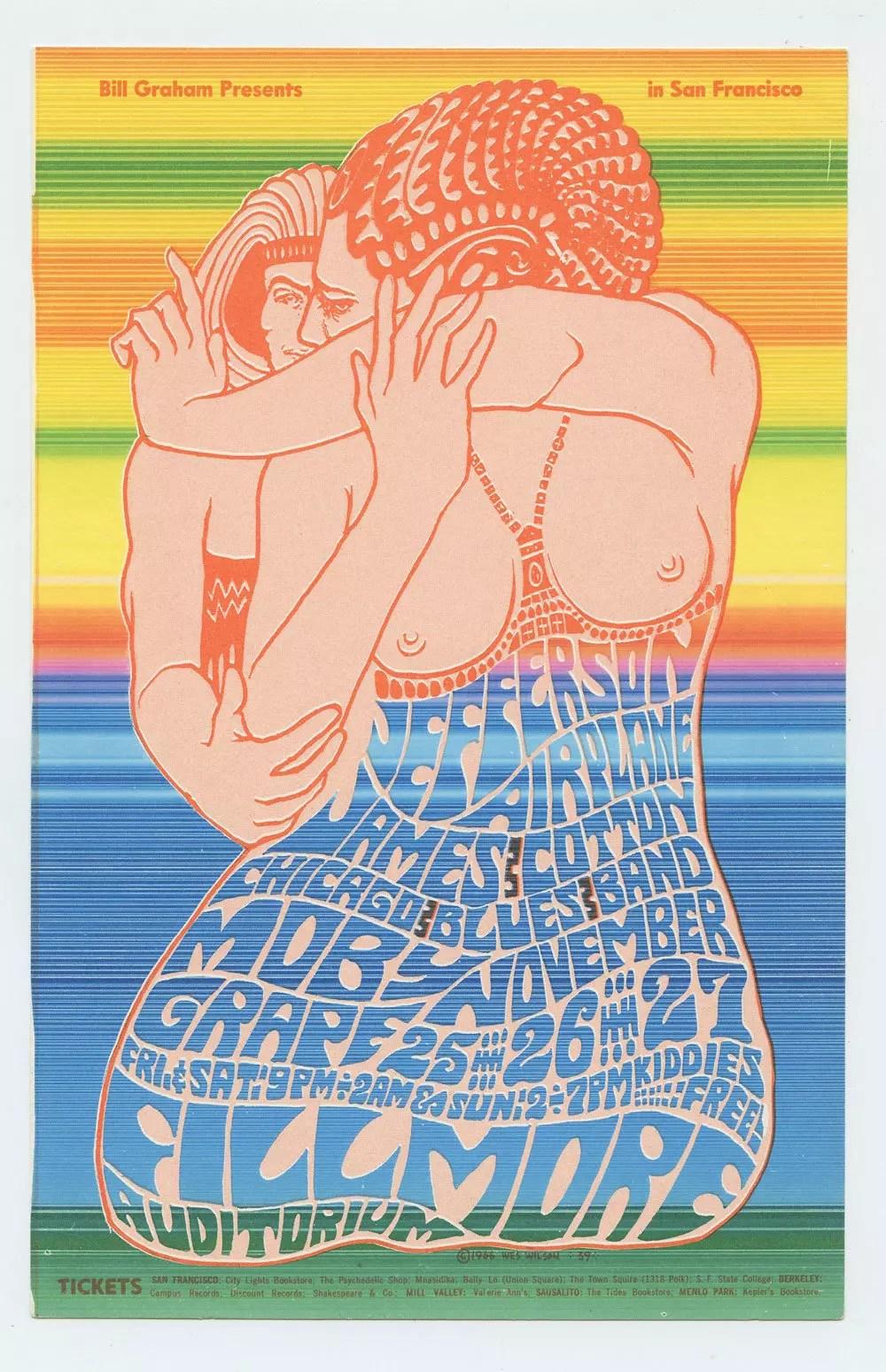 Bill Graham 039 Postcard Jefferson Airplane Moby Grape 1966 Nov 25