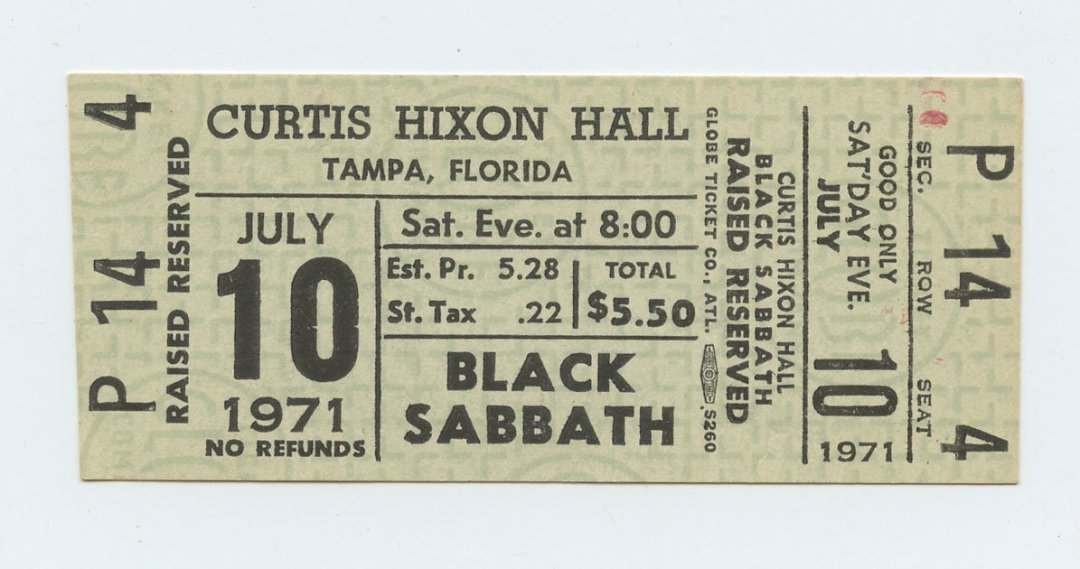 Black Sabbath Ticket 1971 July 10 at Curtis Hixon Hall Unused