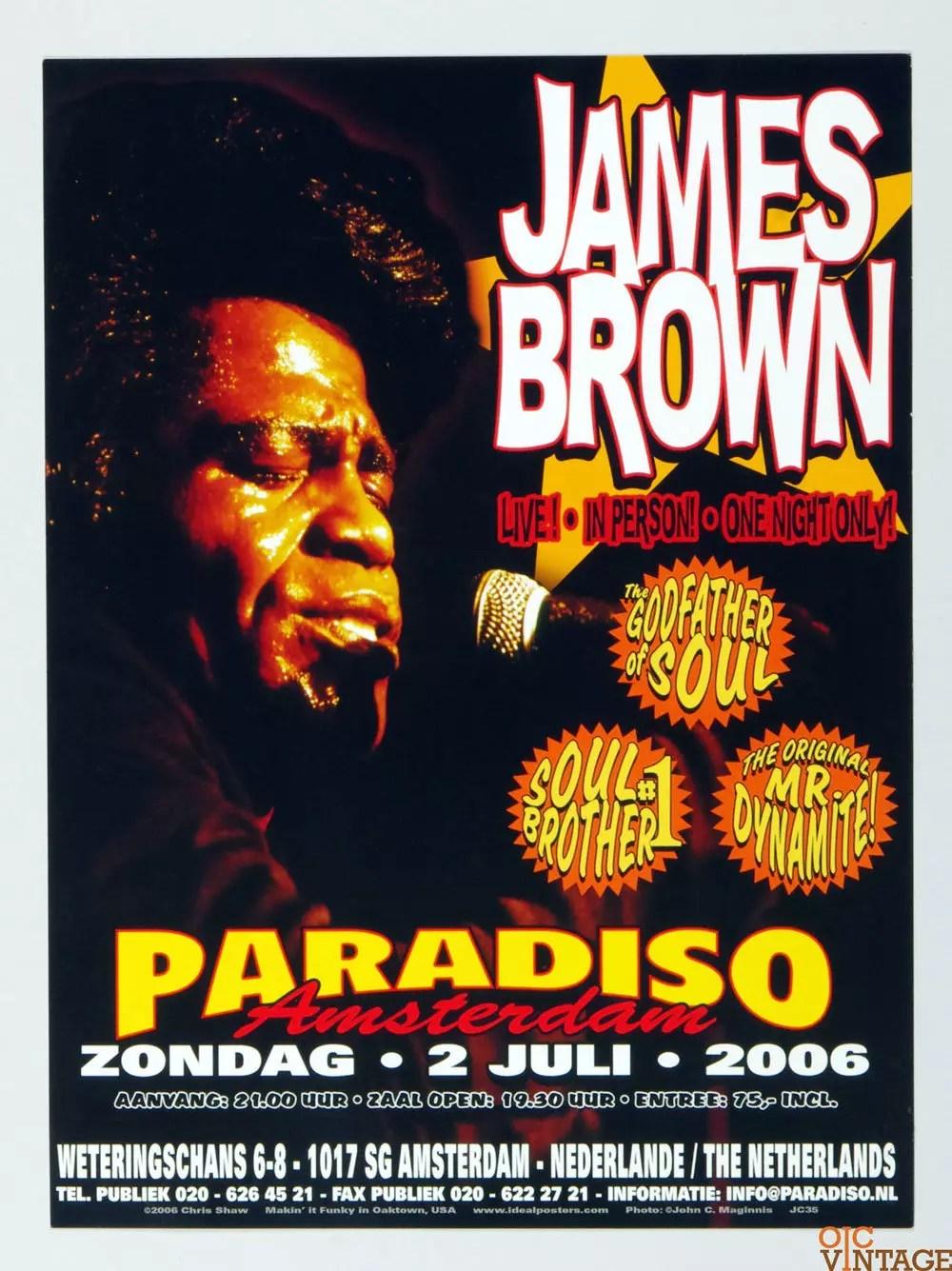James Brown Poster 2006 Jul 2 Paradiso Amsterdam Chris Shaw