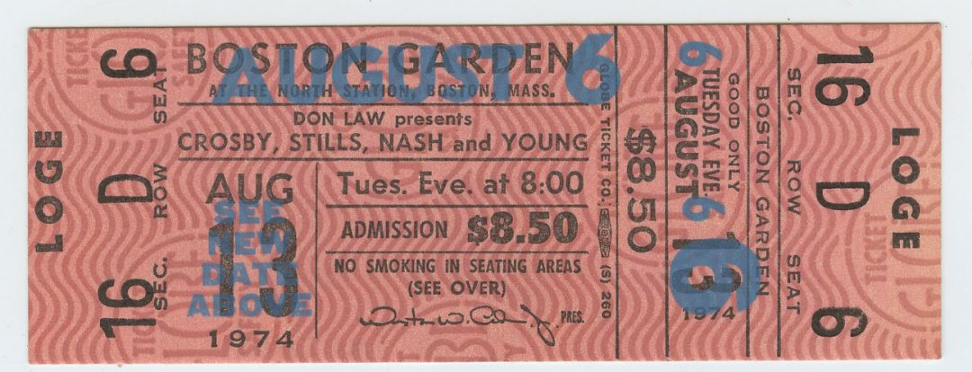 Crosby Stills Nash and Young Ticket Boston Garden 1974 Aug 6 Unused