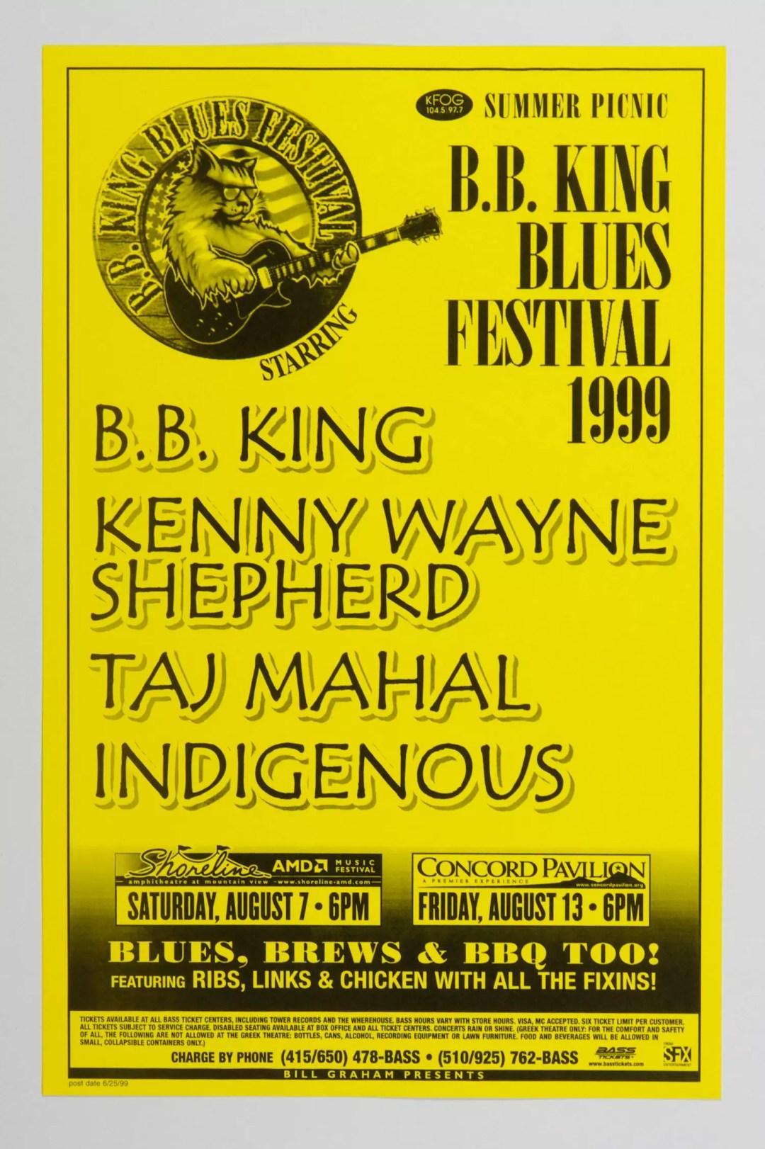 BB King Poster 1999 Aug 7 Shoreline Amphitheatre Concord Pavilion