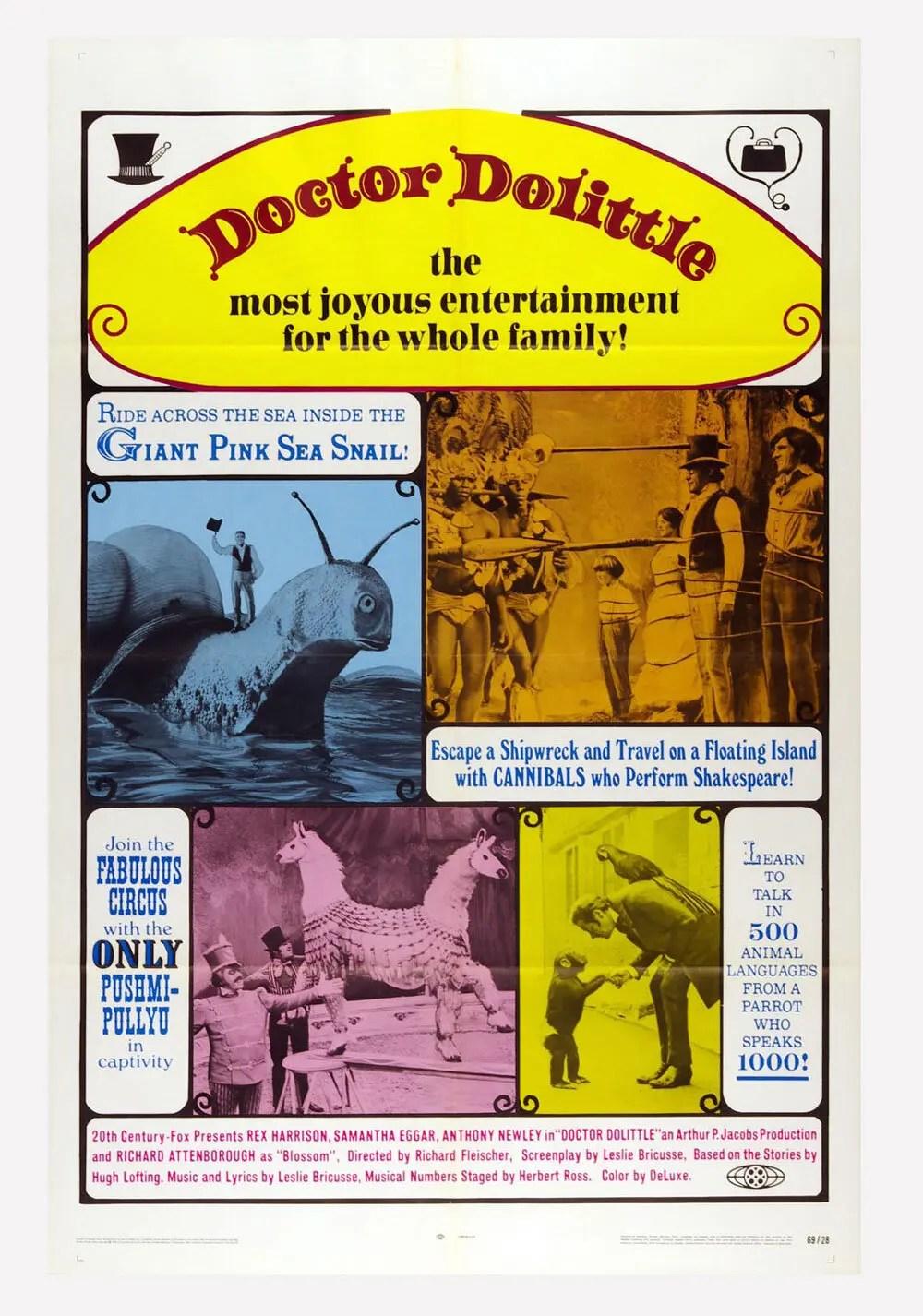 Doctor Dolittle Movie Poster 1969 Rex Harrison Samantha Eggar 27 x 41