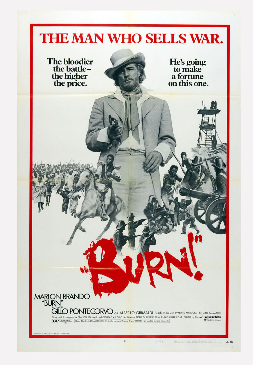 BURN! Movie Poster 1970 Marlon Brando 27 x 41