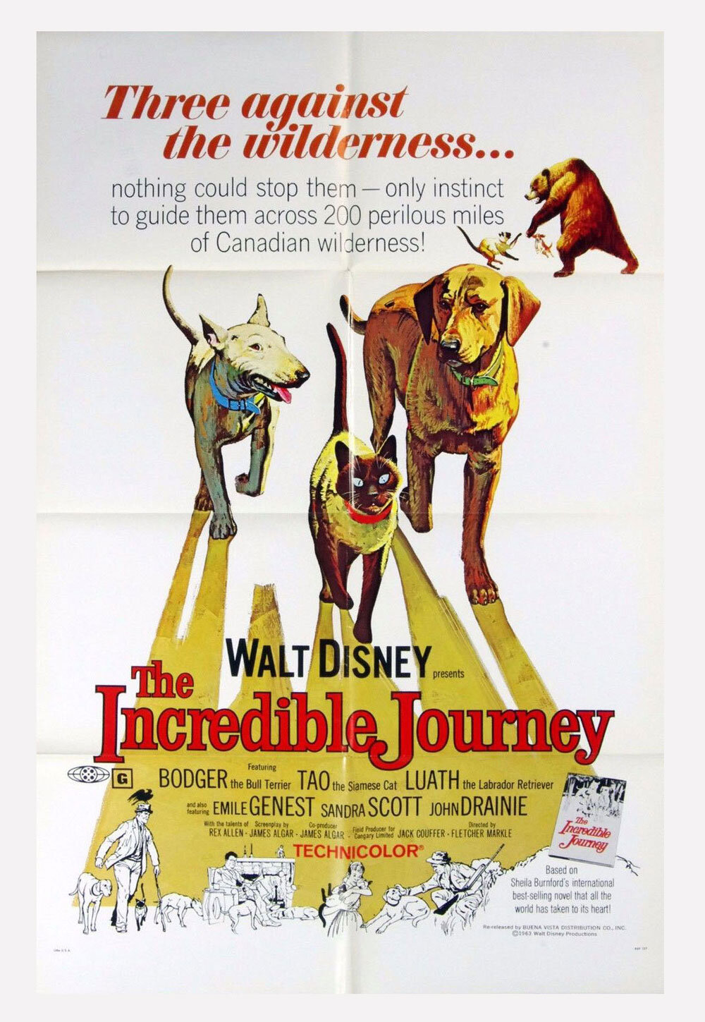 Incredible Journey 1969  Movie Poster 27 x 41 1 Sheet