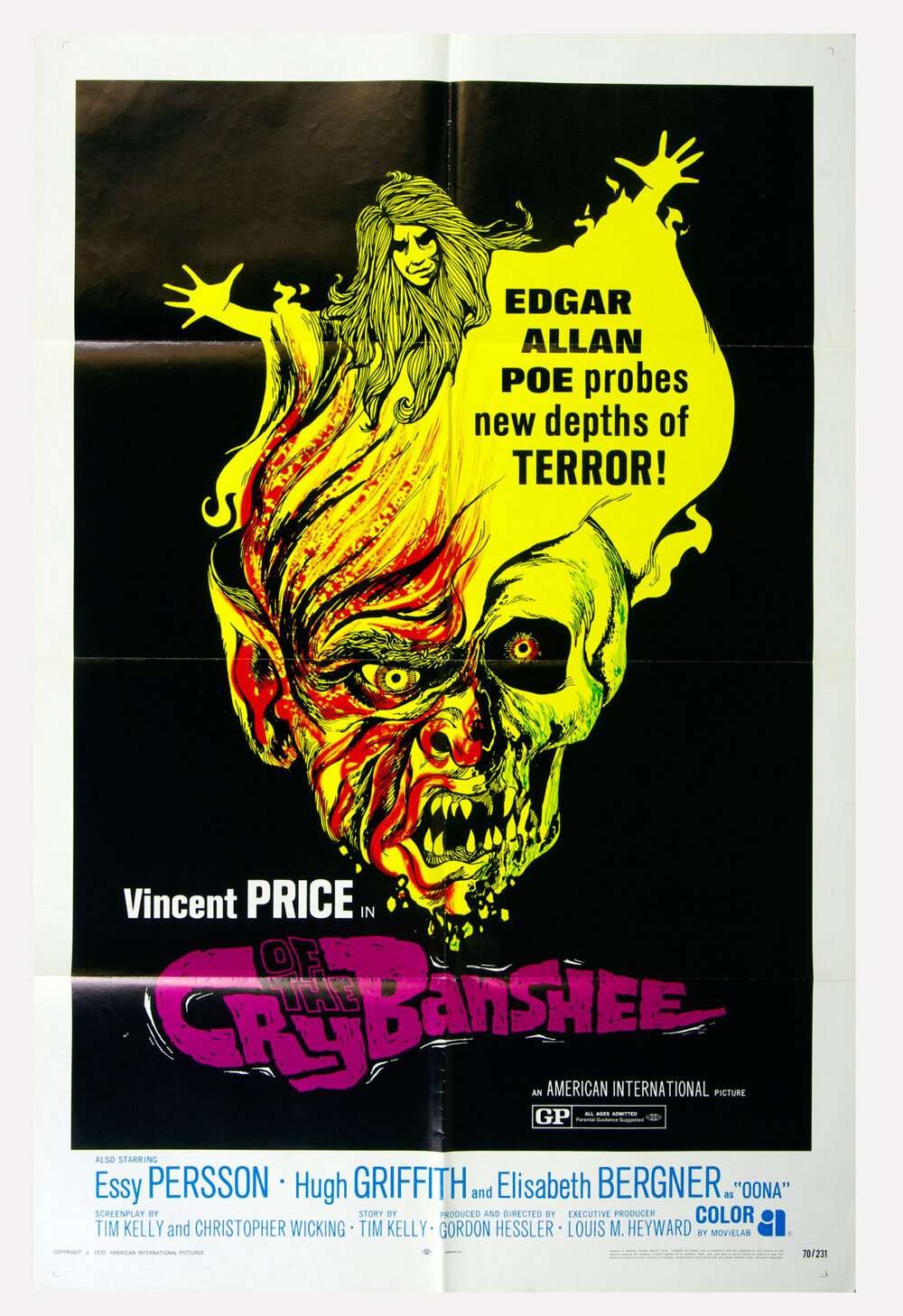 Cry of The Banshee Movie Poster 1970 Vincent Price 27 x 41