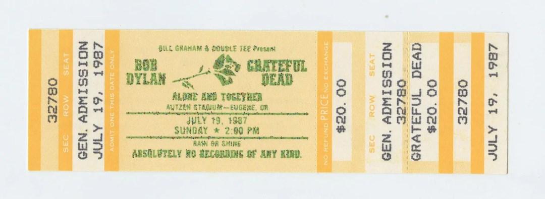 Bob Dylan Grateful Dead Ticket 1987 Jul 19 Autzen Stadium Eugene OR Unused