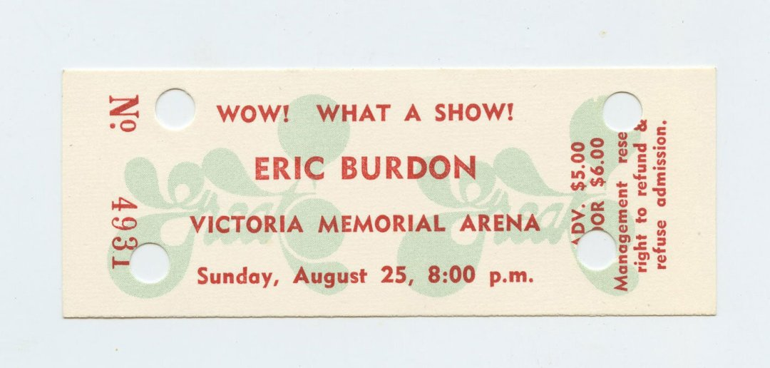 Eric Burdon Ticket 1973 Aug 25 Victoria Memorial Arena Canada